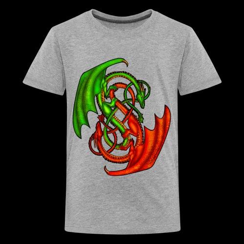Entwined Dragons - Teenage Premium T-Shirt
