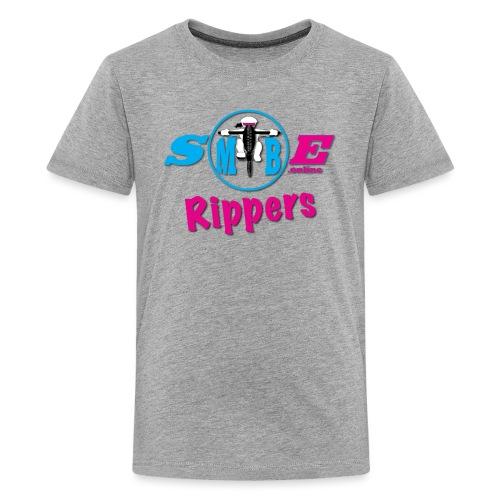 SMTBE biker Rippers logo pink png - Teenage Premium T-Shirt
