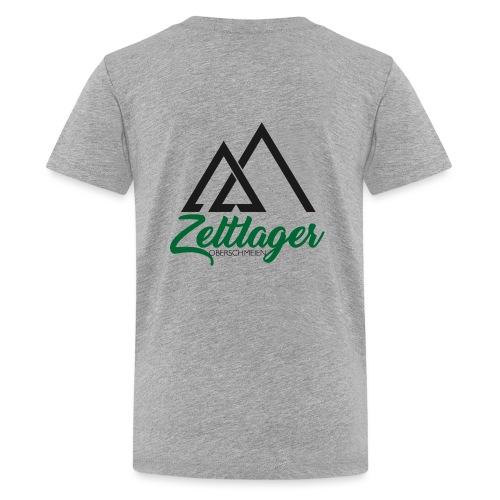 Zeltlager Logo Hinten Schwarz-Grün Edition - Teenager Premium T-Shirt