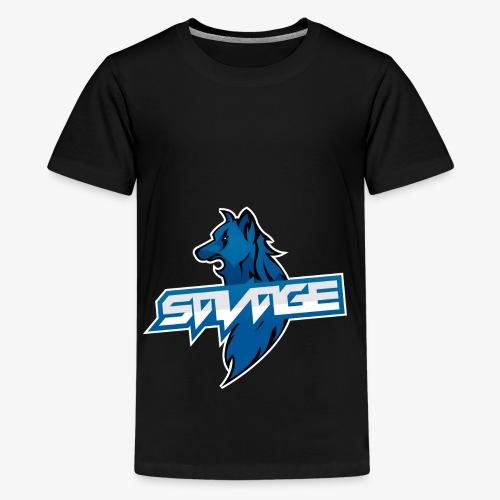 Blue Logo Savage Wolf - Teenage Premium T-Shirt