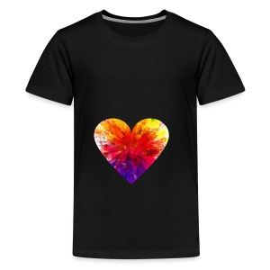 Valentines Day Tee Shirt - Coloured Rainbow Heart - Teenage Premium T-Shirt