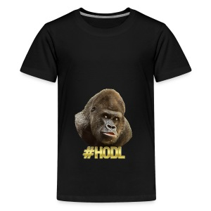 Gorilla #HODL Gold - Teenager Premium T-Shirt