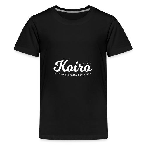 Koiro - Valkoinen Teksti - Teinien premium t-paita