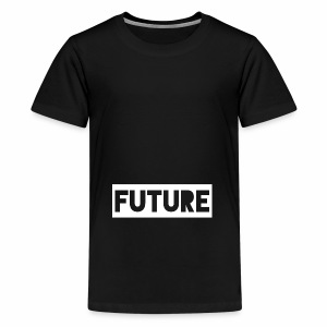 Future Clothing - Text Rectangle (White) - Teenage Premium T-Shirt