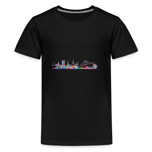 Hamburg Skyline gemalt in Acyl, Maxipike - Teenager Premium T-Shirt