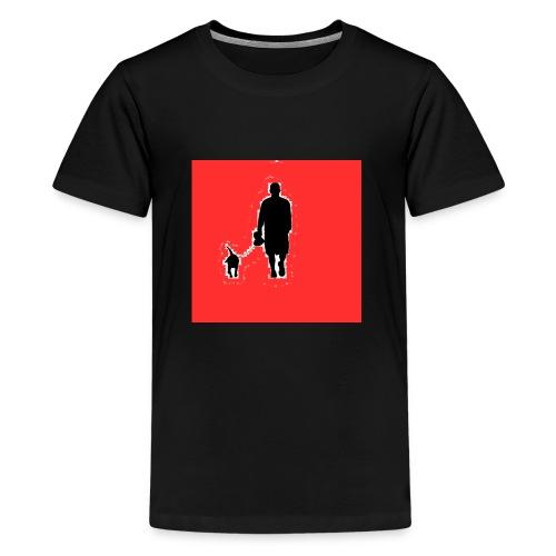 Silhouette Man Walking Dog - Maglietta Premium per ragazzi