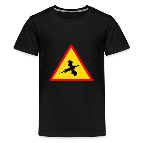 Drachenwarnschild - Teenager Premium T-Shirt