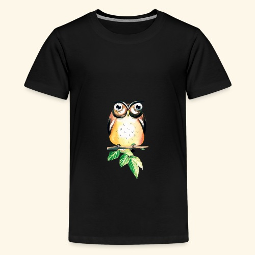 Die aufmerksame Eule - Teenager Premium T-Shirt