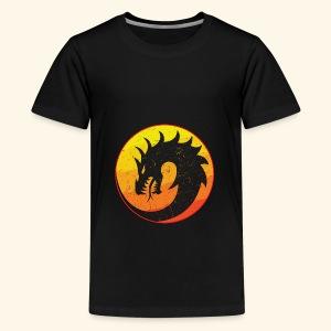 Flaming Dragon Retro - Teenage Premium T-Shirt