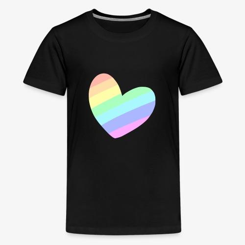 Pastal Rainbow Heart - Teenager Premium T-shirt