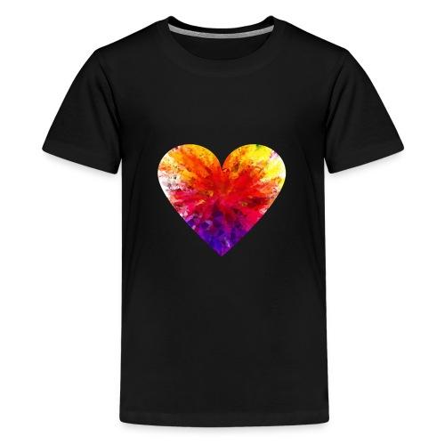 Valentines Day Tee Shirt - Coloured Rainbow Heart - Teenage Premium T-Shirt