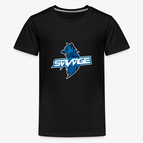 Blue Logo Savage Wolf - Teenage Premium T-Shirt