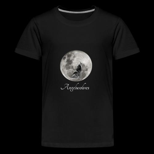 Heulender Wolf vor Mond Angelwolves - Teenager Premium T-Shirt