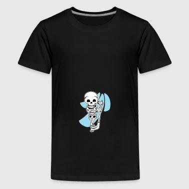 Hockey spielendes Skelett - gruseliges Geschenk - Teenager Premium T-Shirt