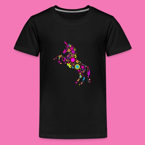 Floral Unicorn Silhouette - Teenager Premium T-Shirt