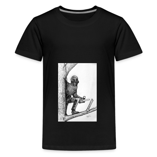 Arborist Tree Surgeon Using a Chainsaw - Teenage Premium T-Shirt