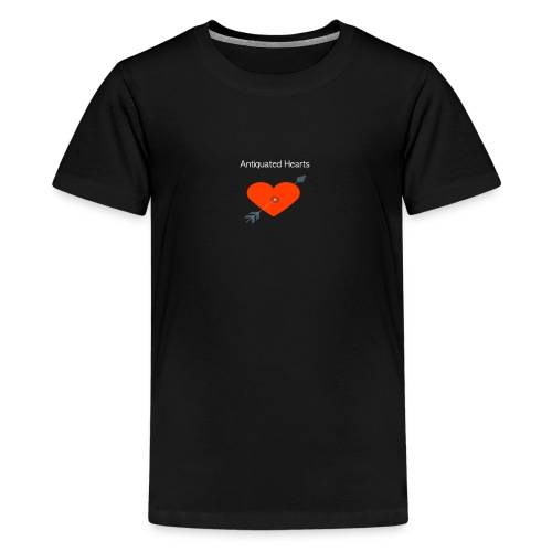 Antiquated Hearts cupids arrow white lettering - Teenage Premium T-Shirt