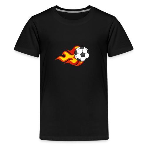 Flaming Football - Teenage Premium T-Shirt