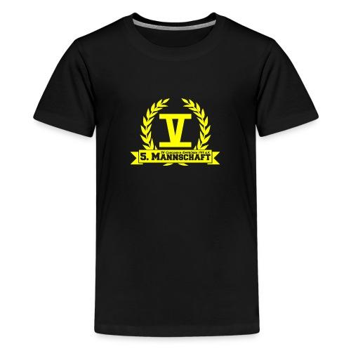 V mit College-Schriftzug - Gelb - Teenager Premium T-Shirt