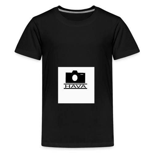 HAVA loggo svart vit - Premium-T-shirt tonåring