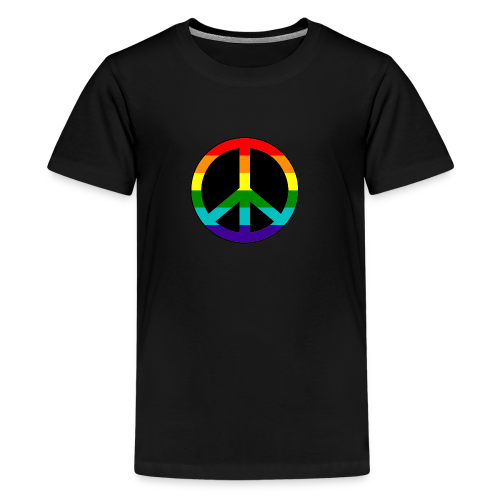 Gay pride peace symbool in regenboog kleuren - Teenager Premium T-shirt
