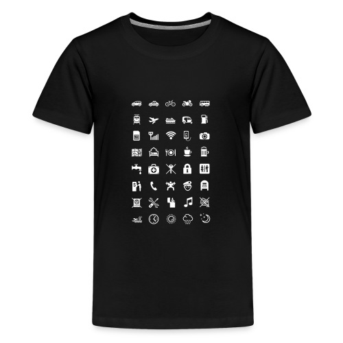 T-shirt för resan med vita ikoner - Premium-T-shirt tonåring