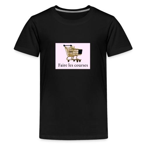 Edler goldener Einkaufswagen mit Schriftzug - Teenager Premium T-Shirt