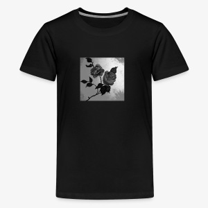 Black white roses on canvas - Teenage Premium T-Shirt