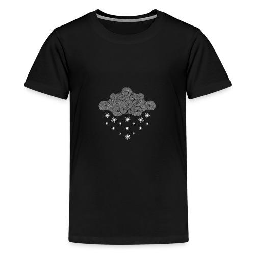 nuage gris et flocons vacances d'hiver - T-shirt Premium Ado