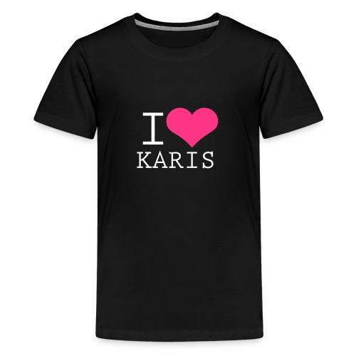 I heart Karis - valkoinen painatus - Teinien premium t-paita