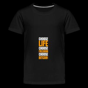 Logo choose bitcoin white - T-shirt Premium Ado
