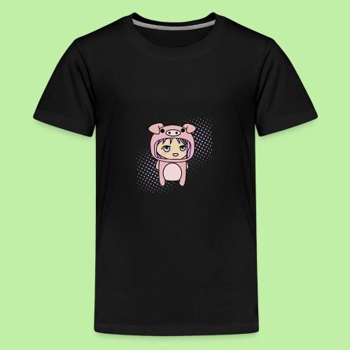 Super kawaii anime kid in piglet outfit - Teenage Premium T-Shirt