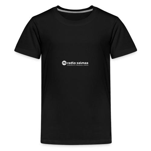 Radio Saimaa logo sloganilla valkoinen - Teinien premium t-paita