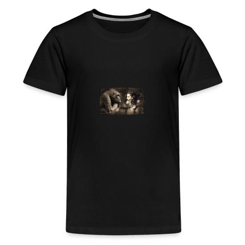 Girl & Monkey - Teenage Premium T-Shirt