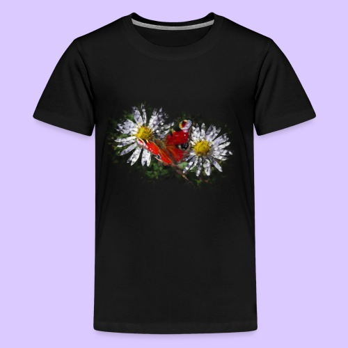 zwei Gänseblümchen mit einem Schmetterling - Teenager Premium T-Shirt