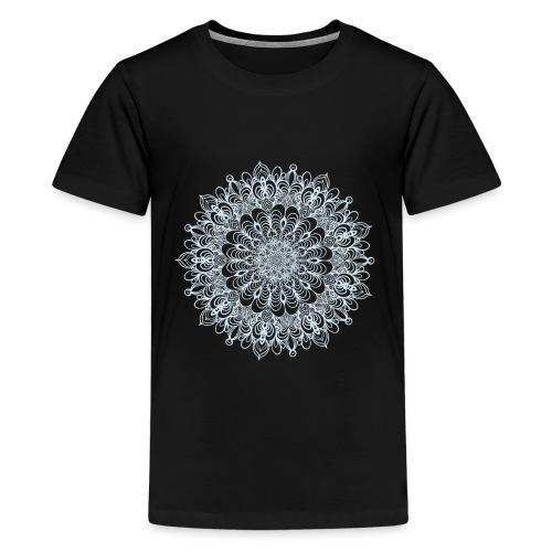 Mandala Zeichnung Kreis Spirale Blumen Line Art - Teenager Premium T-Shirt