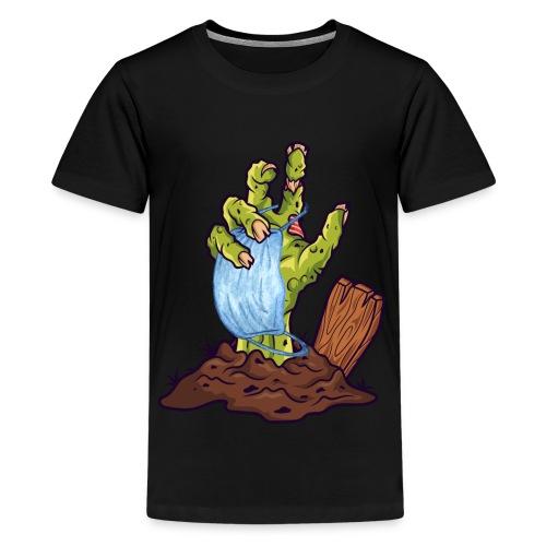 Horror Zombie Hand mit Mund Nasen Schutz - Teenager Premium T-Shirt