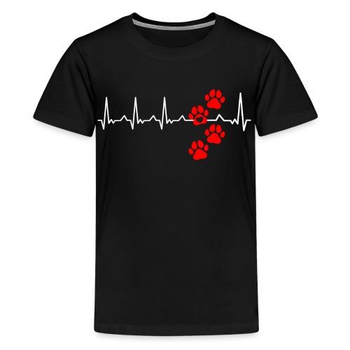 Herz Schlag Hundepfoten Herz Rhythmus Beat Liebe - Teenager Premium T-Shirt