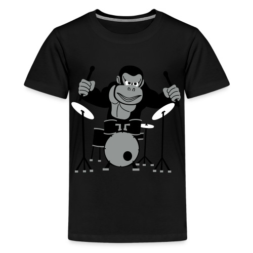 Drumming Gorilla - Teenage Premium T-Shirt
