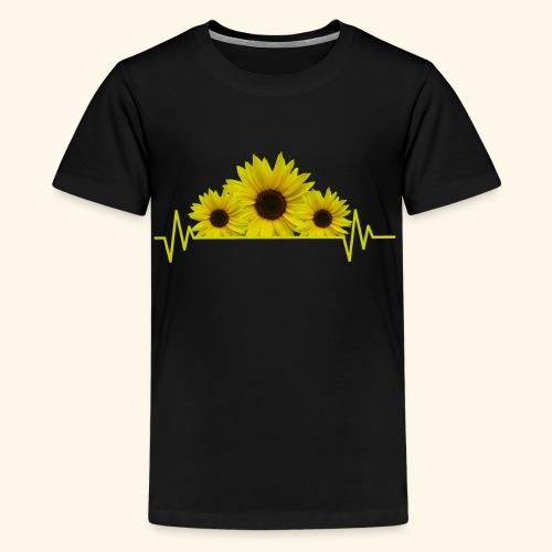 Sonnenblumen Herzschlag Sonnenblume Blumen Blüten - Teenager Premium T-Shirt