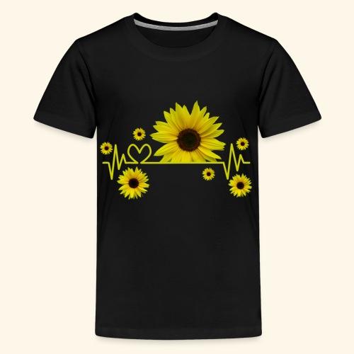 Sonnenblumen, Sonnenblume, Herzschlag, Herz, Blume - Teenager Premium T-Shirt