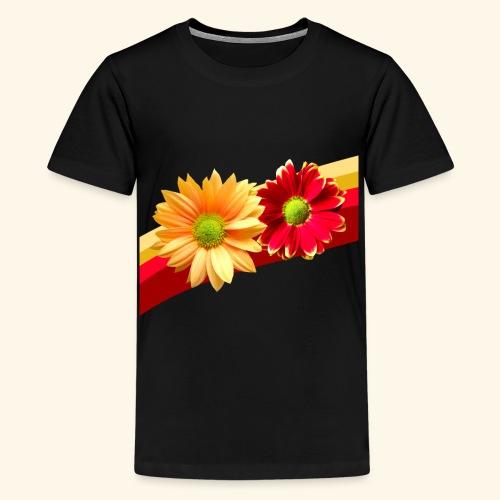 Blumen in den Farben rot und gelb, Blüten, floral - Teenager Premium T-Shirt