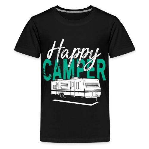 Happy Camper T Shirt Retro Camping Trailer - Teenager Premium T-Shirt
