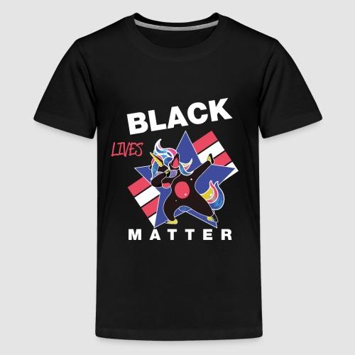 Dabbendes schwarzes Einhorn - Teenager Premium T-Shirt