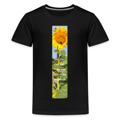 Riesen-Lesezeichen Sonnenblume + Spruch - Teenager Premium T-Shirt