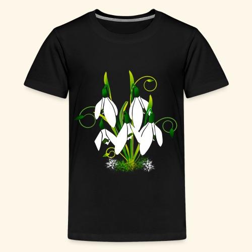 Schneeglöckchen, Blumen, Blüten, floral, Ornamente - Teenager Premium T-Shirt