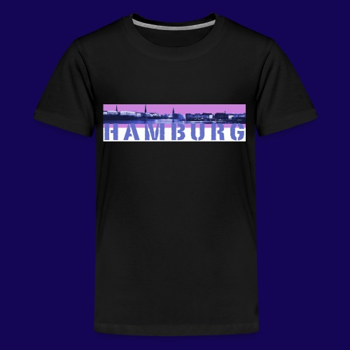 Binnenalster Panorama: pink/blau mit Hamburg Logo - Teenager Premium T-Shirt