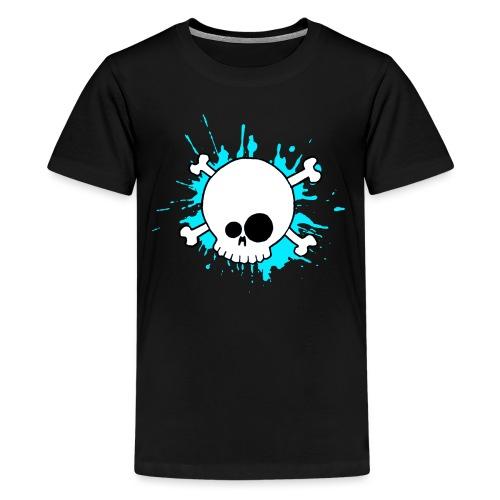SKULL SPLASH BLEU - T-shirt Premium Ado