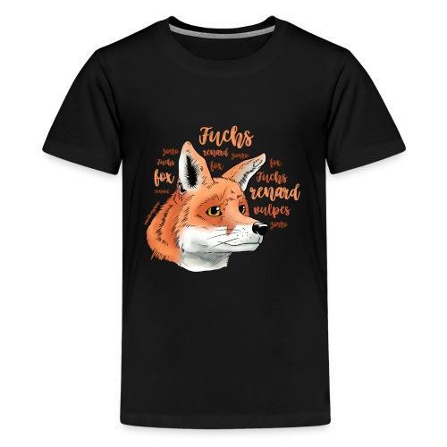 Fuchsportrait mit Lettering - Teenager Premium T-Shirt