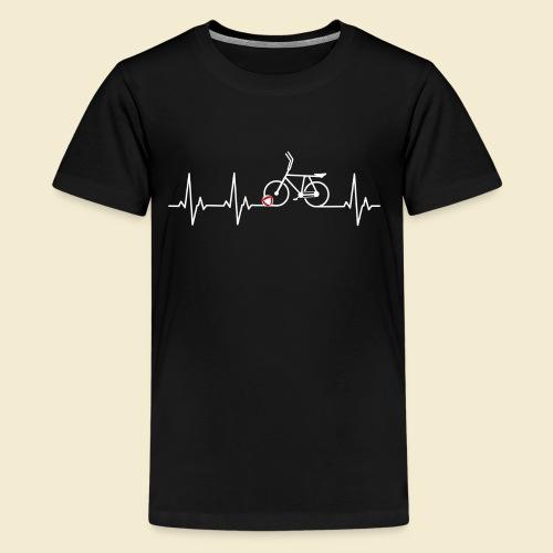 Radball | Heart Monitor White - Teenager Premium T-Shirt
